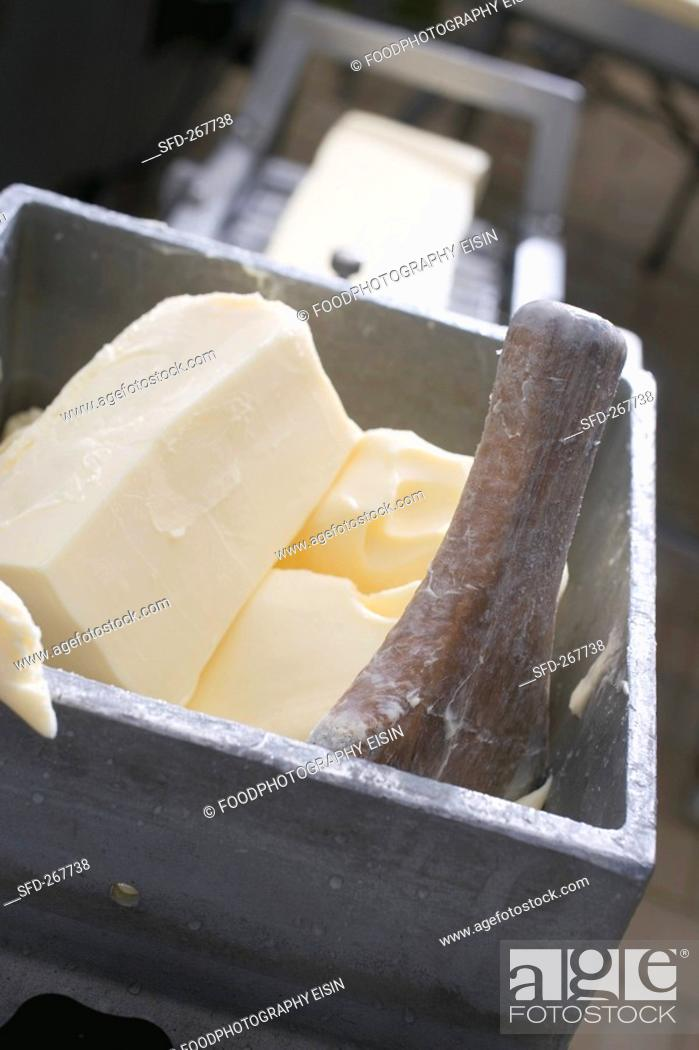 Stock Photo: Making butter.