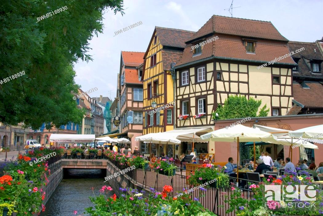 Stock Photo: chanal at the Place l'Ancienne Douane, France, Alsace, Colmar.