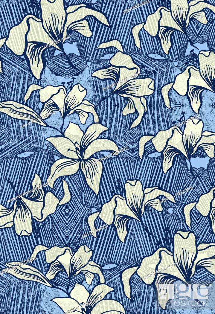 Imagen: Floral shapes over line design.