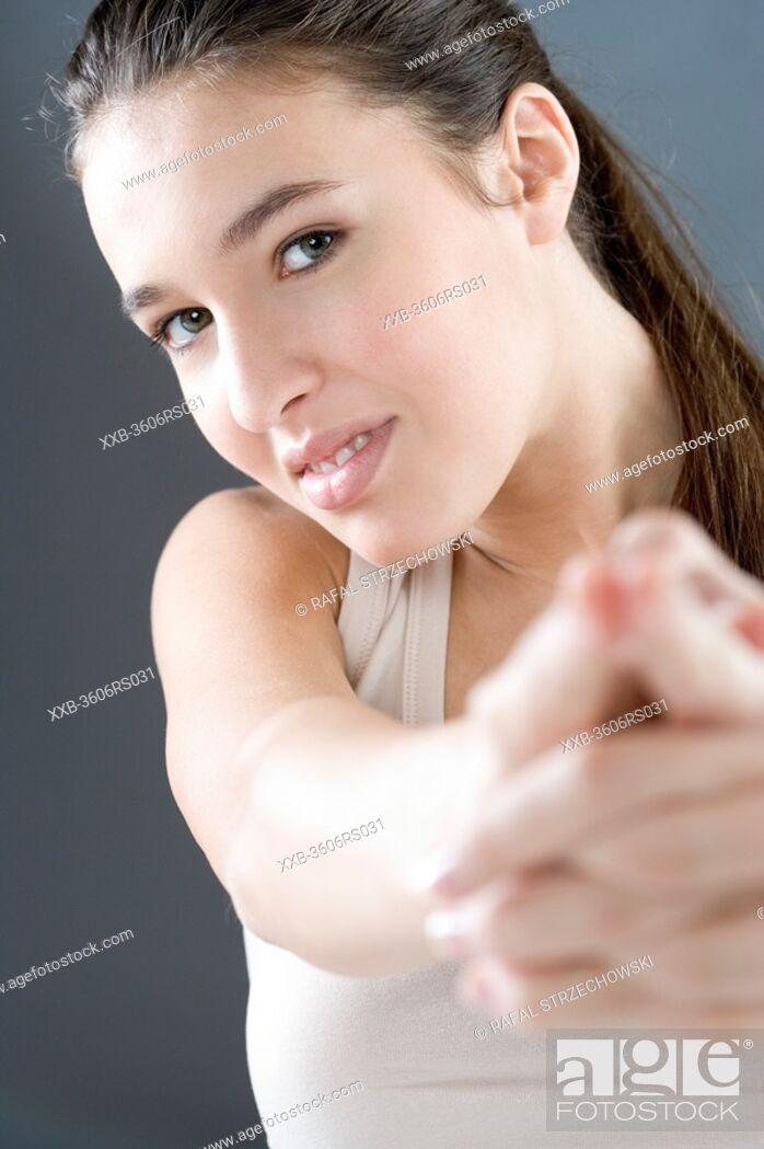 Stock Photo: woman shooting.