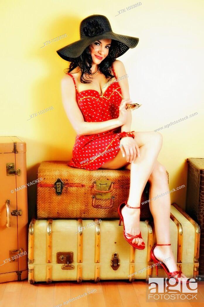 Stock Photo: Actress Lorena Melgar poses for a vintage 'pin-up'.