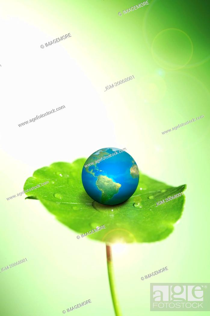 Stock Photo: Lohas, Environmental Conservation, Digitally generated image of globe on the green lily pad.