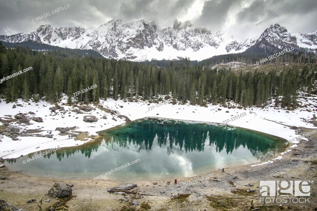 Stock Photo: Karersee lake and Dolomites in the morning, Welschnofen South Tirol Italy.