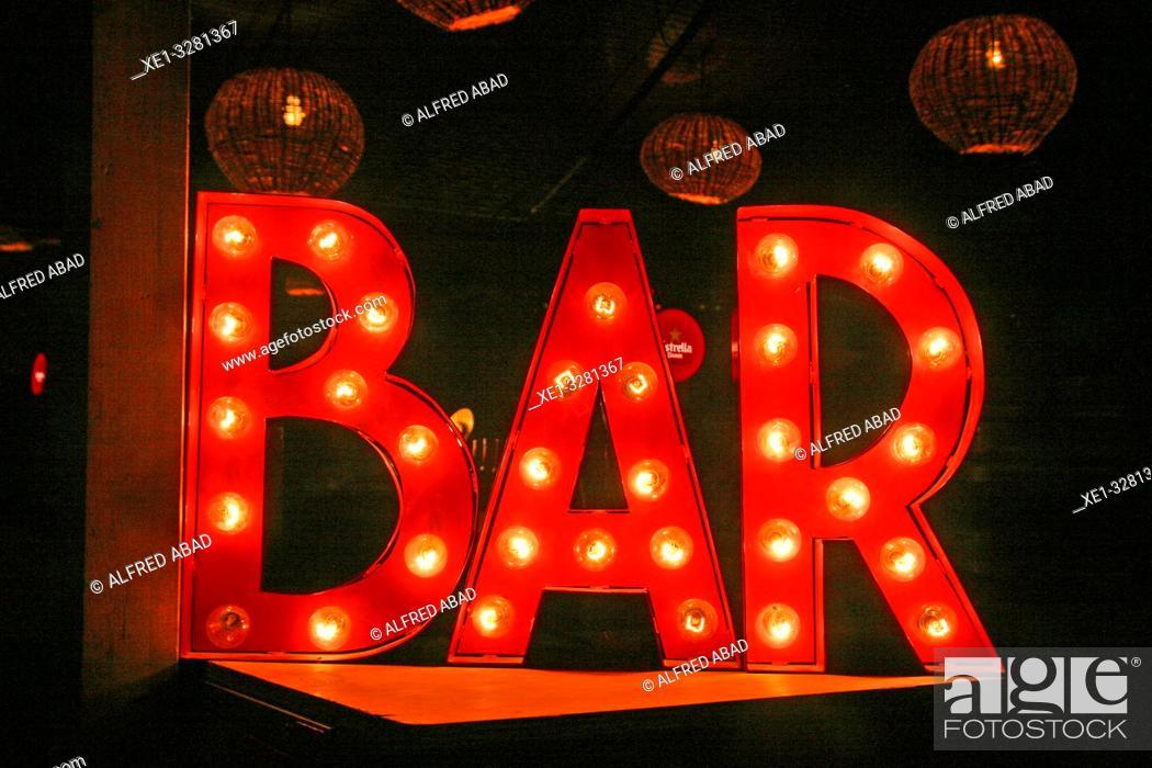 Stock Photo: luminous sign of bar.