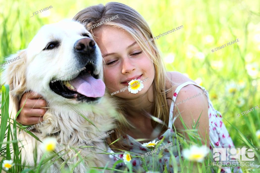 Stock Photo: Girl and dog.