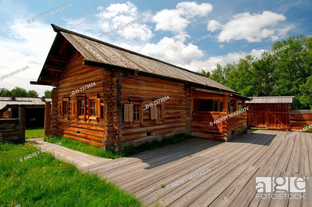 "Photo de stock: Country wooden estate. """"Taltsa's"""" (Talzy) - Irkutsk architectural and ethnographic museum. Baikal, Siberia, Russian Federation."