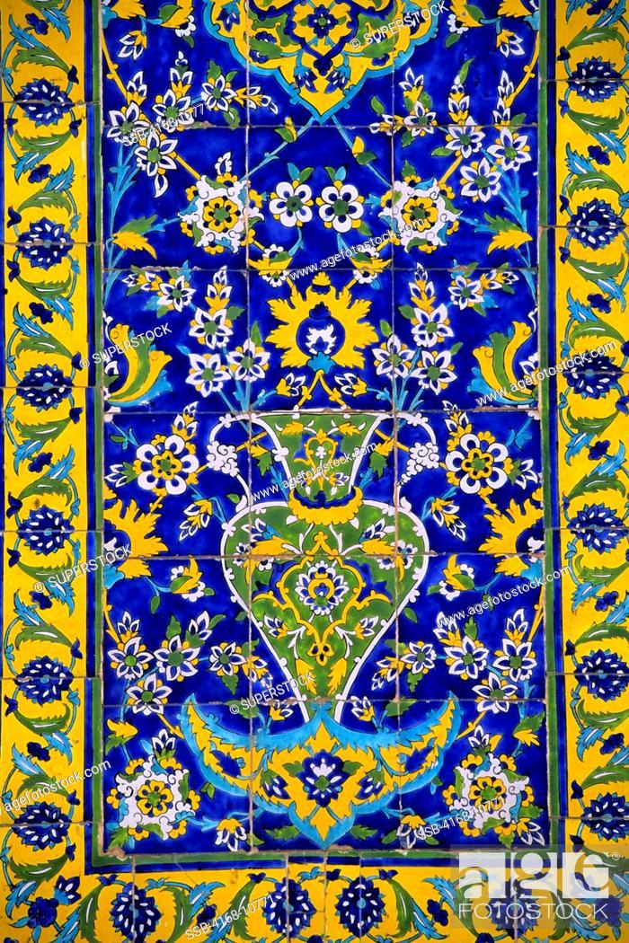Stock Photo: Iran, Esfahan, Eman Khomeni Square, Imam Masjed-E Emam Mosque, Tilework, Detail.