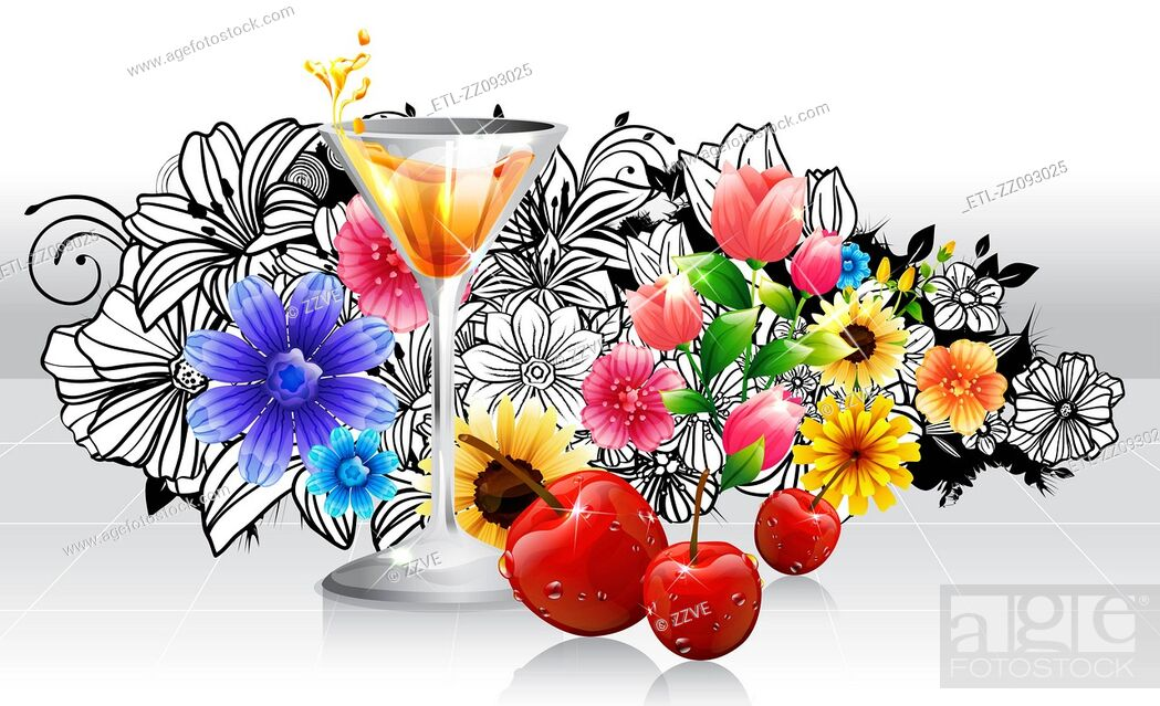 Stock Photo: Red Cocktail and cherry fruits with flora design.