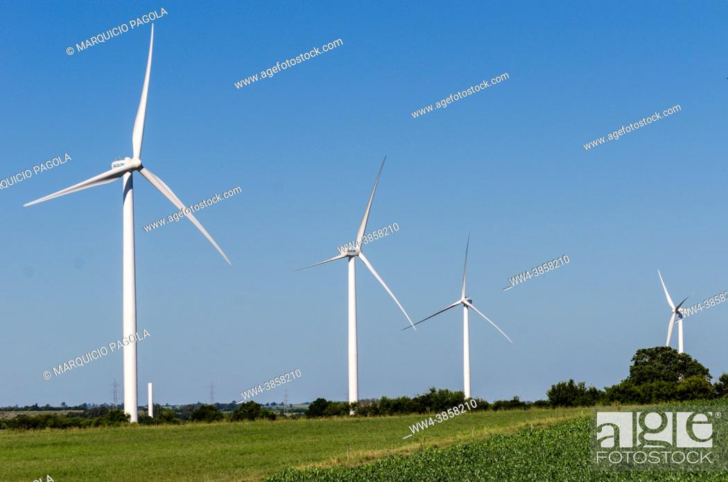Photo de stock: Landscape of energy efficient wind turbine at the countryside near Tarariras, Colonia.