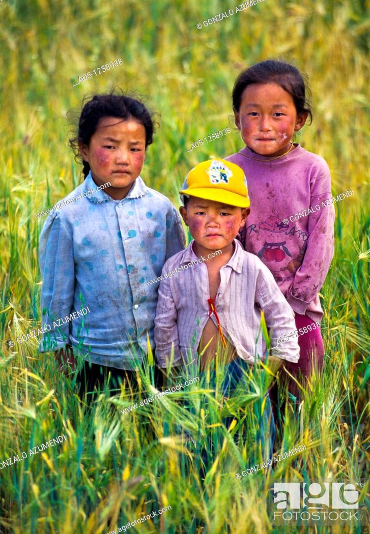 Stock Photo: Portrait  Xiahe. Tibet. China.
