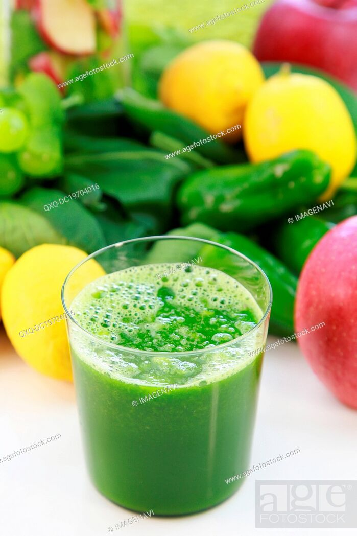 Stock Photo: Glass of green smoothie.