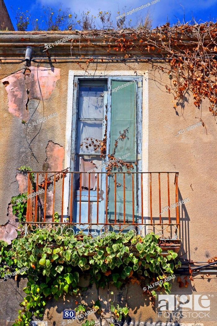 Stock Photo: balcony of ruined house, Blanes, Catalonia, Spain.