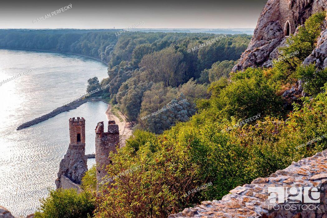 Stock Photo: Castle, Devin, river Danube, Bratislava - Slovakia.