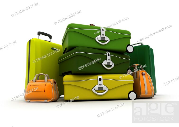 Stock Photo: Baggage set in green and acid colours.