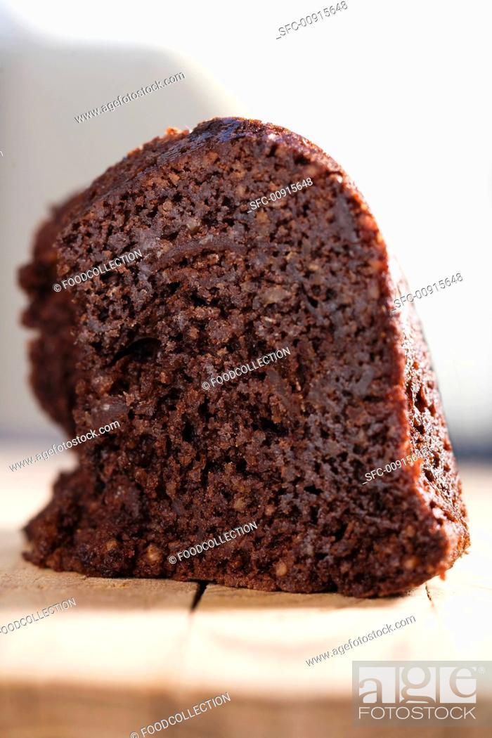 Stock Photo: A chocolate walnut cake.