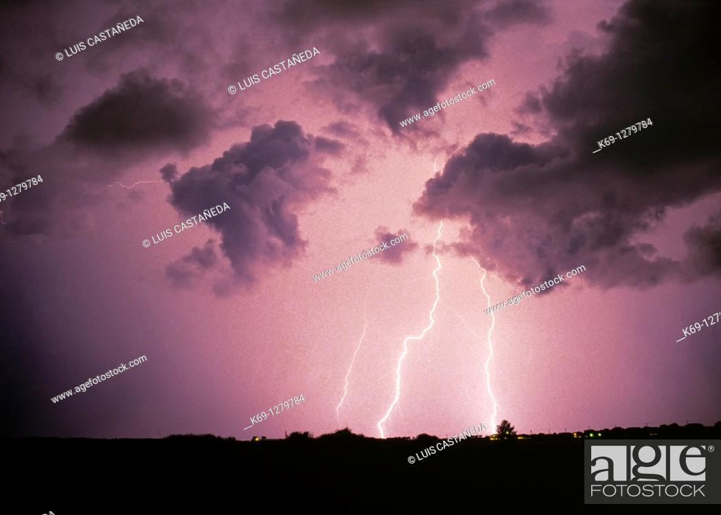 Stock Photo: Thunder and Lightning Storm  Miami Florida  USA.