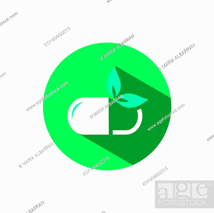 Stock Vector: Nature pill icon with shadow on a green circle. Flat color vector pharmacy illustration.