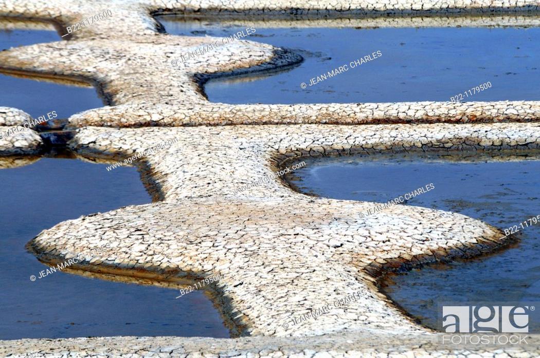 Stock Photo: Salt pan of St Armel, Gulf of Morbihan, Brittany, Bretagne, France.