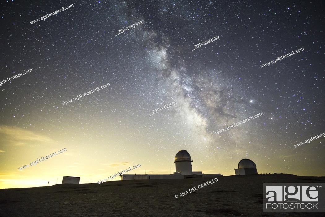 Stock Photo: Arcos de las Salina Teruel Aragon Spain on August 2019: Milky way in the astronomical observatory of Javalambre for shooting the milky way and stars in a summer.