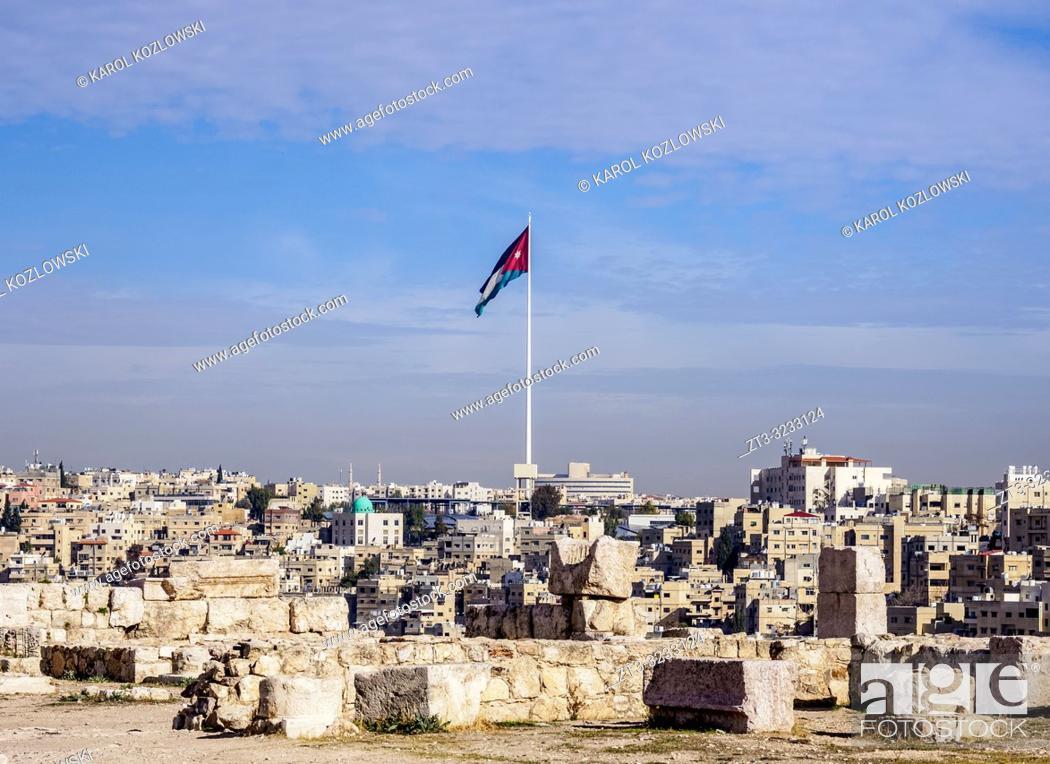 Imagen: Cityscape with Raghadan Flagpole seen from Citadel Hill, Amman, Amman Governorate, Jordan.