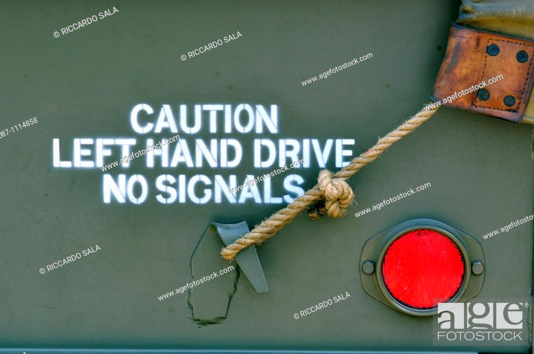 Stock Photo: Letter on the Side of a Military Truck.