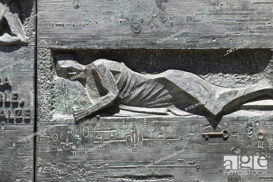 Stock Photo: Gethsemane Door, Passion Façade, Basílica de la Sagrada Família by architect Antoni Gaudi, UNESCO World Heritage Site, Carrer de Mallorca, Barcelona, Catalonia.