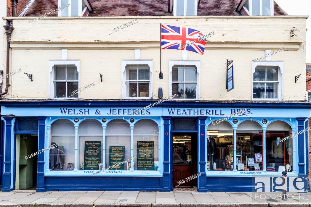 Stock Photo: Welsh & Jefferies & Weatherill Bros Tailors, High Street, Eton, Berkshire, `uk.