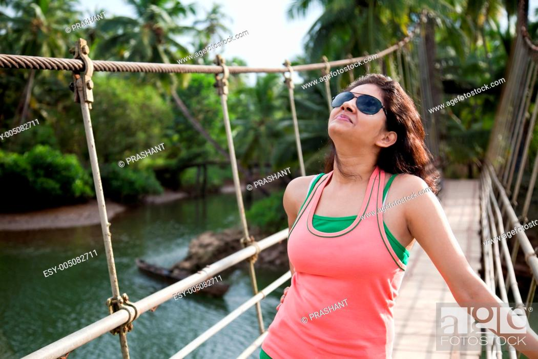 Stock Photo: Young girl enjoying nature.