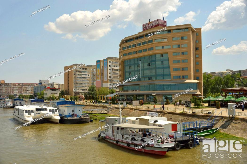 Stock Photo: Ships on the Danube, Promenade Hotel, Tulcea County, Romania.