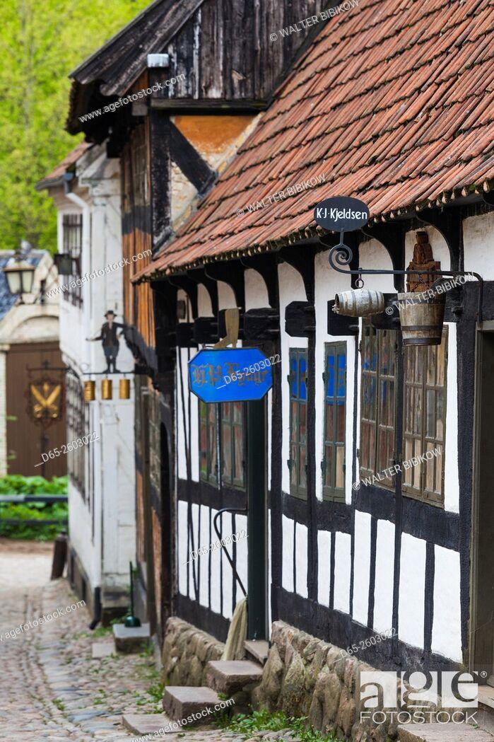 Stock Photo: Denmark, Jutland, Aarhus, Den Gamle By, reconstructed Old Town, half-timbered buildings.