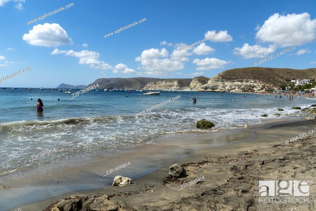 Stock Photo: Agua Amarga beach in Cabo de Gata nature reserve Almeria Andalusia Spain.