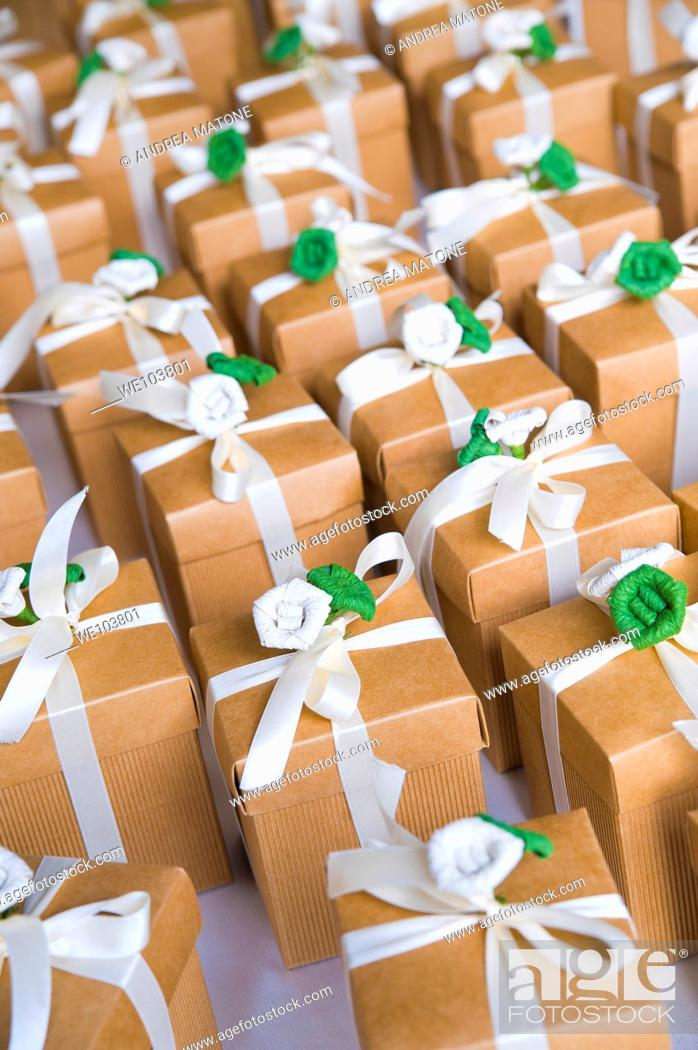 Stock Photo: Group of gift boxes with ribbon.