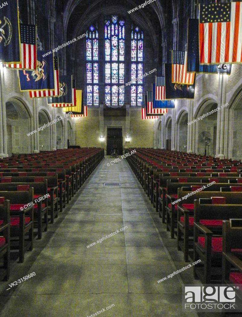 Stock Photo: Looking down the aisle cadets chapel West Point New York, on the Hudson River.