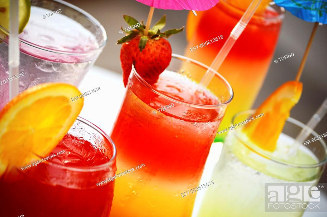 Stock Photo: Composition with five glasses of drinks.