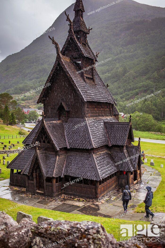 Stock Photo: Borgund Stave Church, Sogn og Fjordane, Norway.