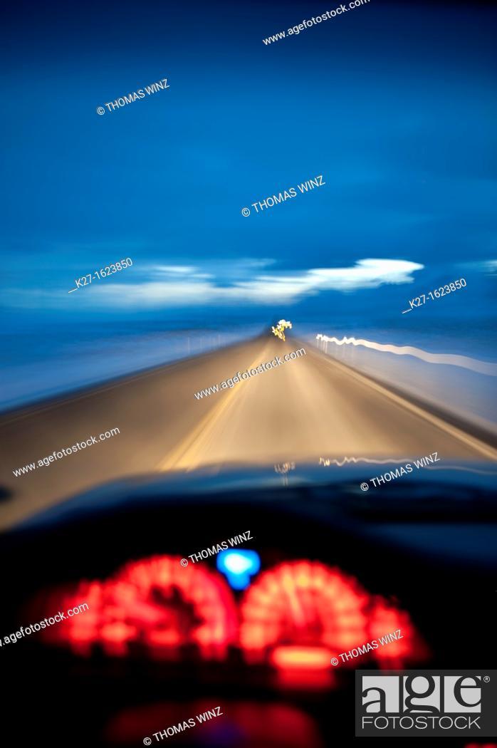 Stock Photo: Driving at night, Highway 447, near Pyramid Lake, USA.