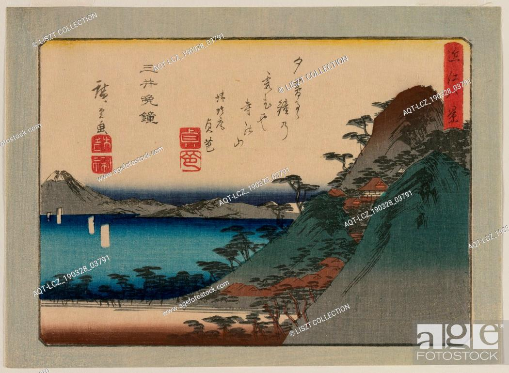 Stock Photo: Evening Bell at Mii Temple (from the series Eight Views of Omi Province), late 1830s or early 1840s. Ando Hiroshige (Japanese, 1797-1858).