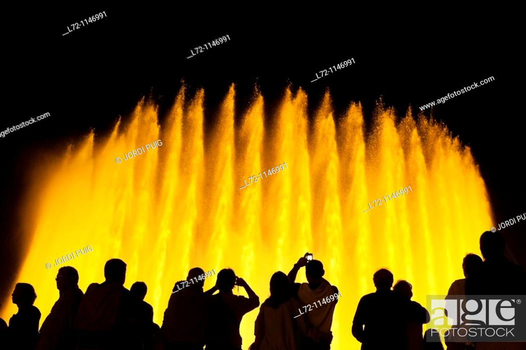 Stock Photo: Montjuic magic fountain, Barcelona, Catalonia, Spain.