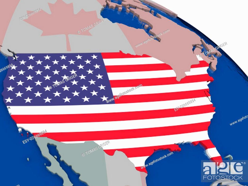 Imagen: USA with flag highlighted on model of globe. 3D illustration.