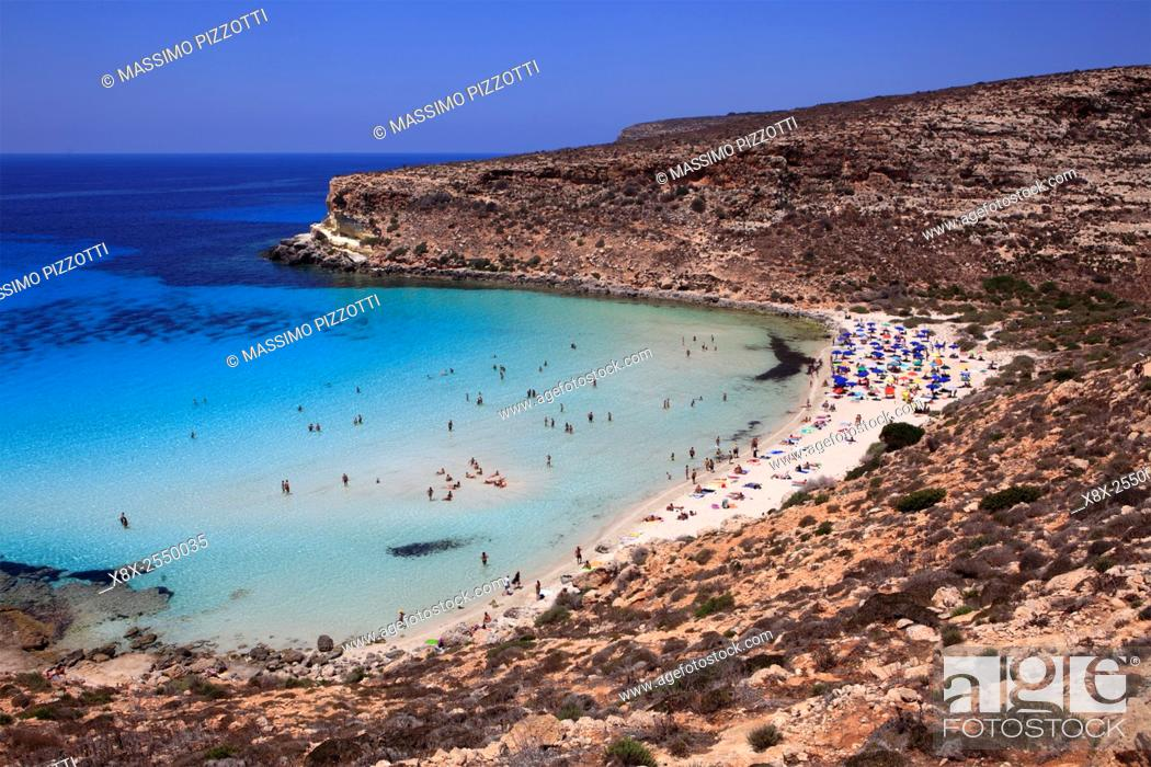 Beach Of Rabbits In Lampedusa Sicily Italy Stock Photo Picture