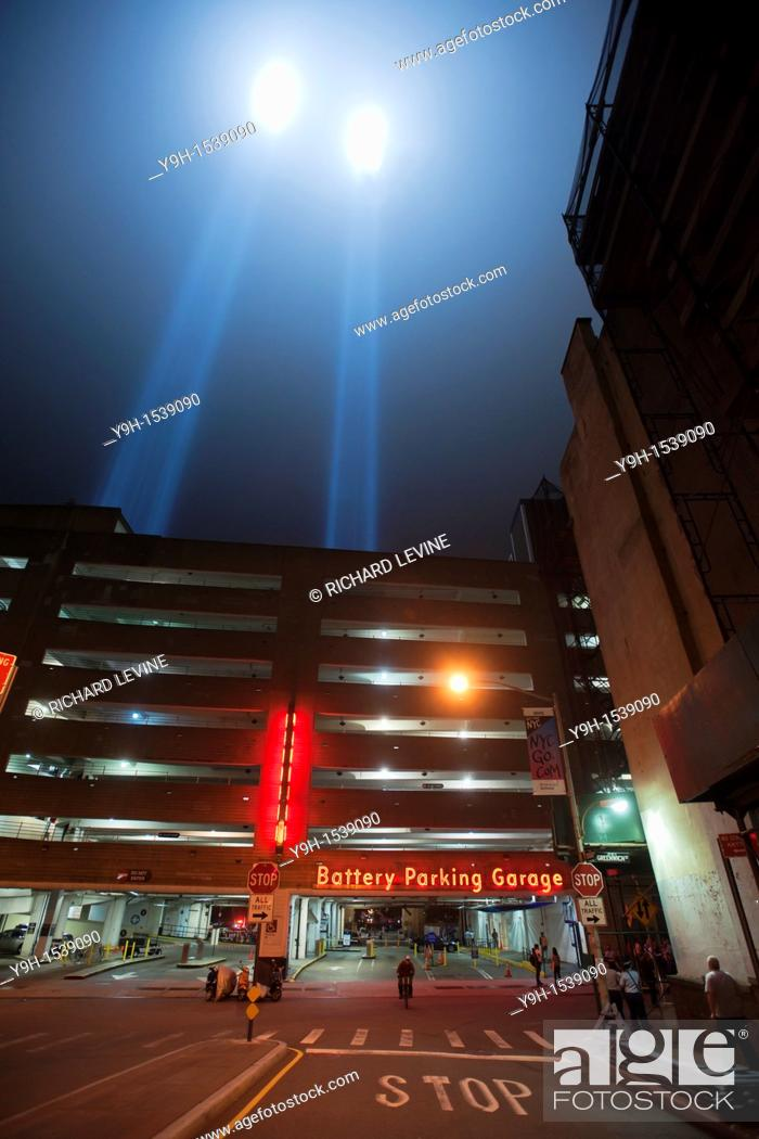Stock Photo: The twin beams of Tribute In Light shoot skyward for the tenth anniversary of the September 11 terrorist attacks in New York, seen on Sunday, September 11.