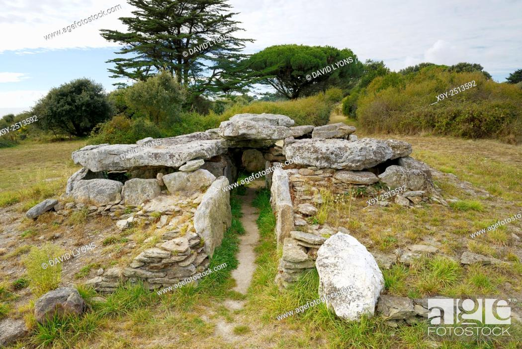 Stock Photo: Neolithic prehistoric dolmen burial chamber Dolmen de la Joseliere. On the shore at Pornic, Loire Atlantique, Brittany, France.