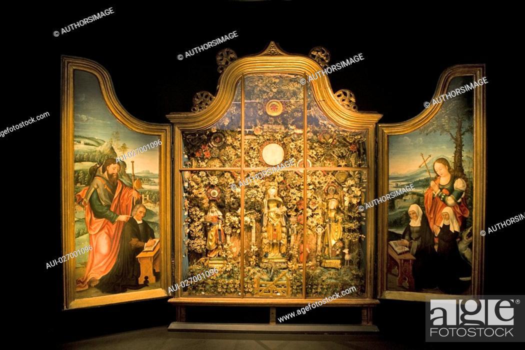 Stock Photo: Belgium - Flanders - Mechelen - Aldermen's House - Schepenhuis Museum - Religious Statuary - Altarpiece called Besloten Hofjes walled gardens.