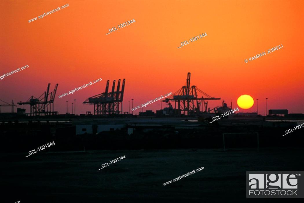 Stock Photo: Sunset over Port Rashid in Dubai, UAE.