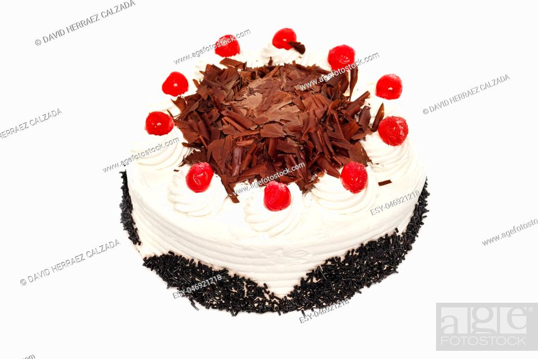 Stock Photo: Delicious cream Cake with cherry on white isolated background .
