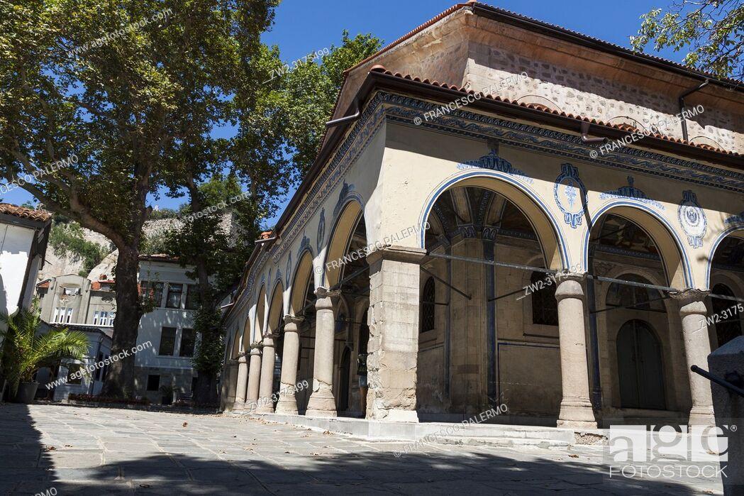 Stock Photo: Cloister of an Orthodox church. Plovdiv, Bulgaria.