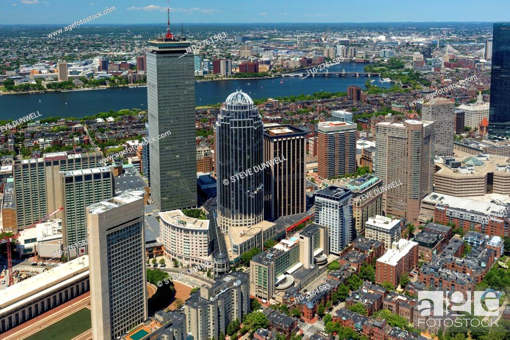 Stock Photo: Aerial view of Prudential Center district, looking north from South End to Charles River, Boston, Massachusetts, USA.