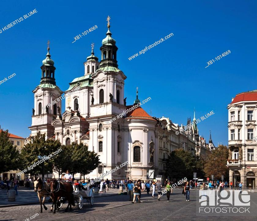 Stock Photo: Baroque St  Nicholas Church, build from 1732 to 1735 by the master builder Kilian Ignaz Dientzenhofer, located at Old Town Square, Prague, Hlavni mesto Praha.
