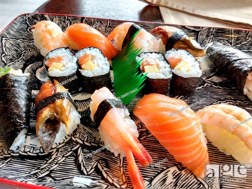 Stock Photo: Nigiri-sushi and maki-sushi, Amada Carlota Japanese Restaurant, La Cotariella, Cabranes, Asturias, Spain.