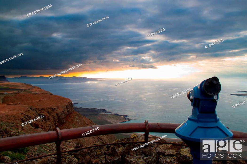 Stock Photo: Coastal landscape from Lanzarote island, Spain.